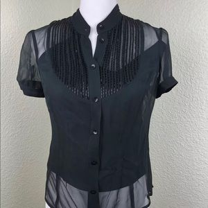 Laundry by Shelli Segal Black Sheer Silk Blouse